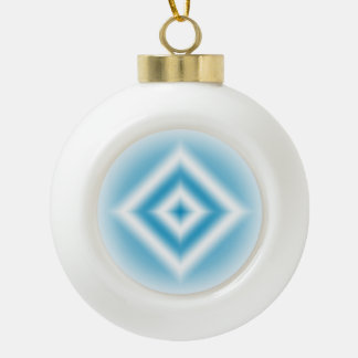 Personalize-sky blue diamond gradient ceramic ball christmas ornament