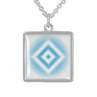 Personalize-sky blue diamond gradient sterling silver necklace