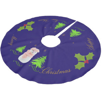 Personalize, Snow woman, Christmas tree, twig Brushed Polyester Tree Skirt