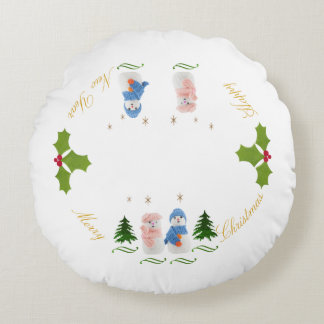 Personalize, Snowman and Snow woman Round Pillow
