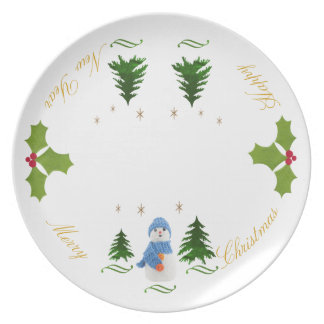 Personalize, Snowman, Christmas tree, twig Party Plate