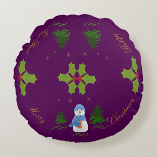 Personalize, Snowman, Christmas tree, twig Round Pillow