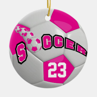 Personalize Soccer Ball | Hot Pink Ceramic Ornament