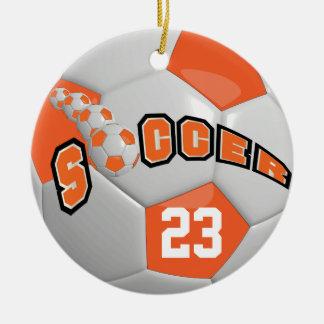 Personalize Soccer Ball   Orange Round Ceramic Ornament