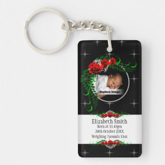 Personalize Sparkly Baby Girl Memento Roses Pearls Single-Sided Rectangular Acrylic Keychain