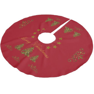 Personalize, Sparkly Christmas tree, moon, stars Brushed Polyester Tree Skirt
