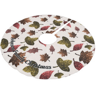 Personalize Sparkly leaves fall autumn sparkles Brushed Polyester Tree Skirt