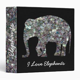 Personalize Sparkly silver mosaic Elephant Black Vinyl Binder