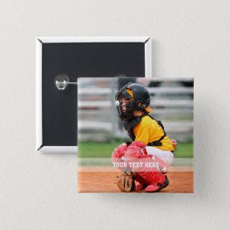 Personalize Sports Photo 2 Inch Square Button