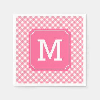 Personalize Stylish Baby Pink Gingham Monogram Paper Napkins