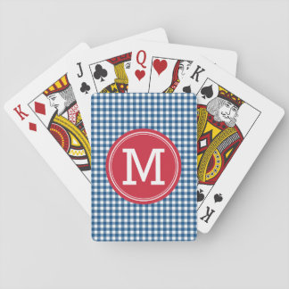 Personalize Stylish Country Blue Gingham Monogram Poker Deck