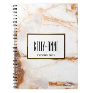 Personalize Stylish Marble Texture Designer Notebooks