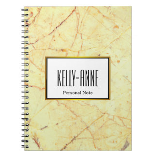 Personalize Stylish Marble Texture Designer Spiral Notebook