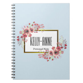 Personalize Stylish Vintage Floral Boutique Spiral Notebook