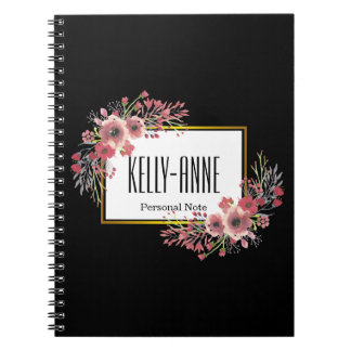 Personalize Stylish Vintage Floral Boutique Spiral Spiral Notebook