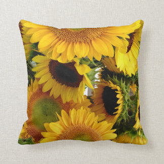 Personalize Sunflowers Square Pillow Happy Yellow