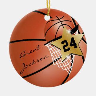 Personalize Super Star Player Basketball Ceramic Ornament