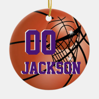 Personalize Super Star Player Basketball Round Ceramic Ornament