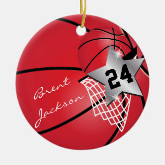 Personalize Super Star Player Red Basketball Ceramic Ornament