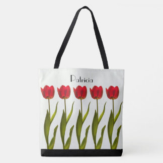 Personalize:  Tall Red Tulips Floral Photography Tote Bag