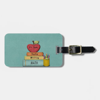 Personalize Teachers', Apple, Books and Pencils Luggage Tag