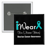 Personalize Teal Ribbon Ovarian Cancer 2 Inch Square Button