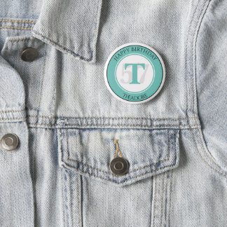 Personalize: Teal/White Bold Initial and Age 2 Inch Round Button