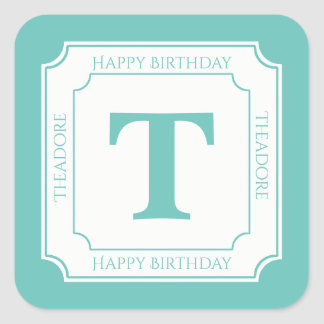 Personalize: Teal/White Bold Initials Birthday Square Sticker