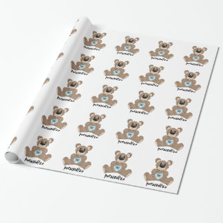 Personalize Teddy Bear Wrapping Paper