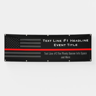 Personalize Thin Red Line USA Flag Medium Display Banner