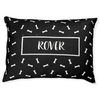 Personalize this Black and White Dog Bone Dog Bed