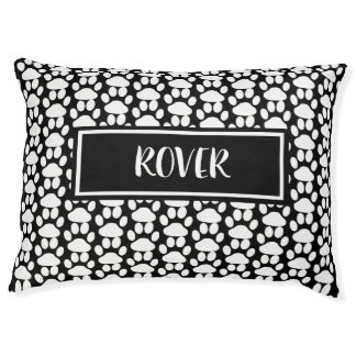 Personalize this Black and White Paw Print Dog Bed