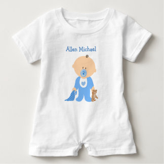 Personalize this Blue  Baby Boy Romper