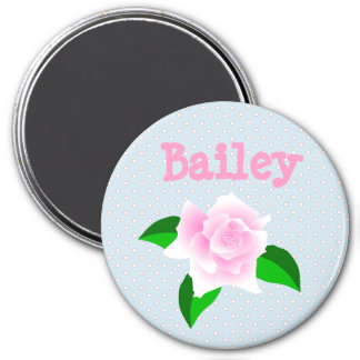 Personalize this Blue Rose Dotted Name Magnet