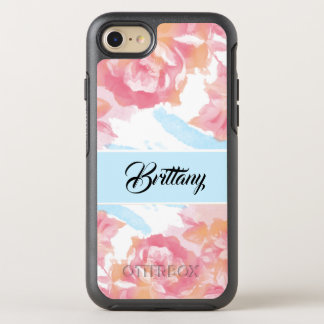 Personalize this elegant watercolor rose OtterBox symmetry iPhone 8/7 case