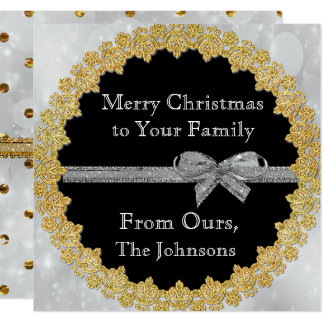 Personalize this Gold and Silver Christmas Card