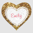Personalize this Gold Glitter Heart Sticker