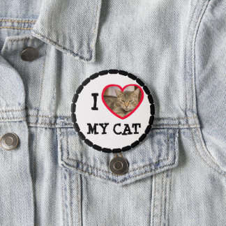 """Personalize this """"I Love my Cat"""" Button"""