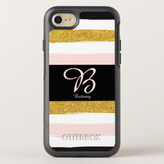 Personalize this monogrammed pink striped design OtterBox symmetry iPhone 8/7 case