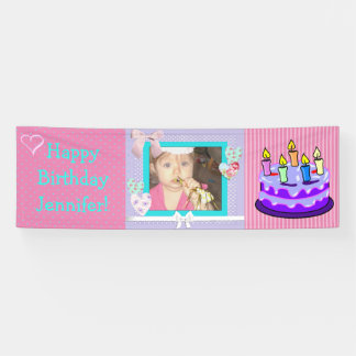 Personalize this Pink Birthday Girl Banner