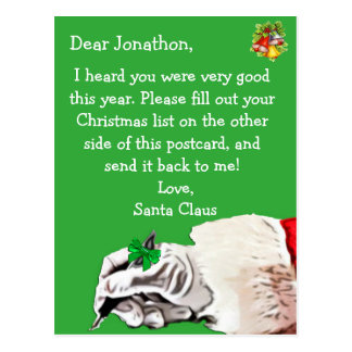 """Personalize this """"Postcard for Santa Claus"""" Postcard"""