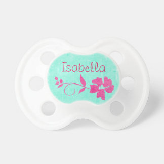 Personalize this pretty pink flower name pacifier