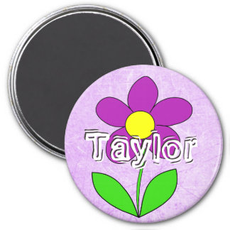 Personalize this Purple flower Name Magnet