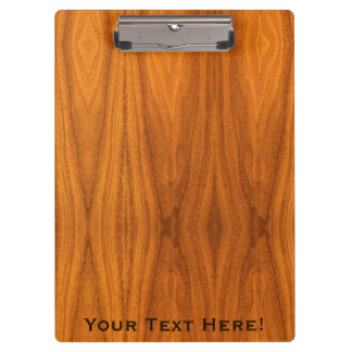 Personalize this Teak Wood Veneer Print Clipboard