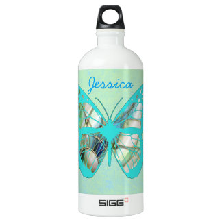 Personalize this Teal Butterfly Water Bottle