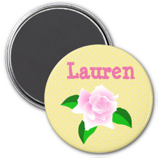 Personalize this Yellow  Rose Dotted Name Magnet