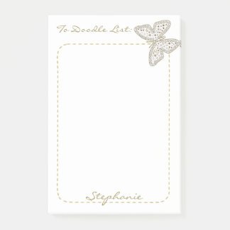 "Personalize ""To Doodle List"" Doodle Art Butterfly Post-it Notes"