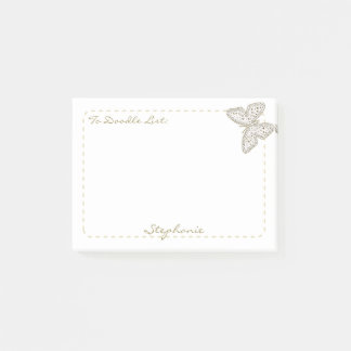 "Personalize ""To Doodle List"" Doodle Art Butterfly Post-it® Notes"
