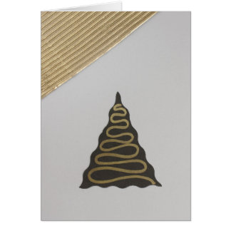 Personalize Tree with a gold line and gold sky Greeting Card