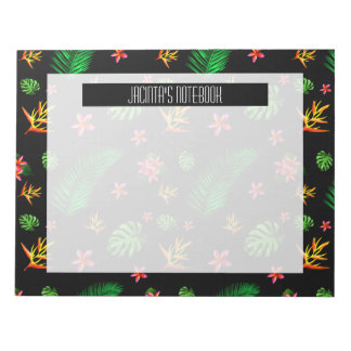 Personalize Trendy Tropical Leaf And Flower Notepad